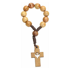 Single decade rosary in Holy Land olive wood, cross and dove s1
