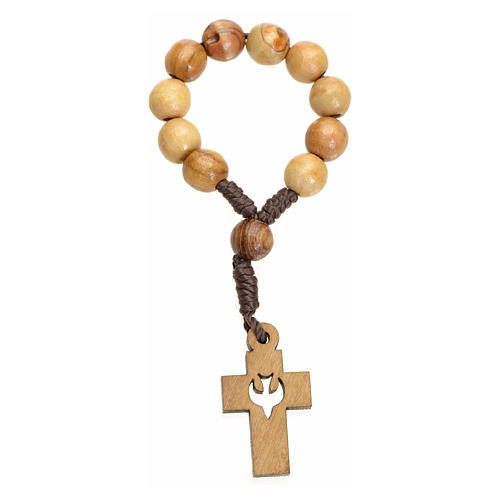 Single decade rosary in Holy Land olive wood, cross and dove 1