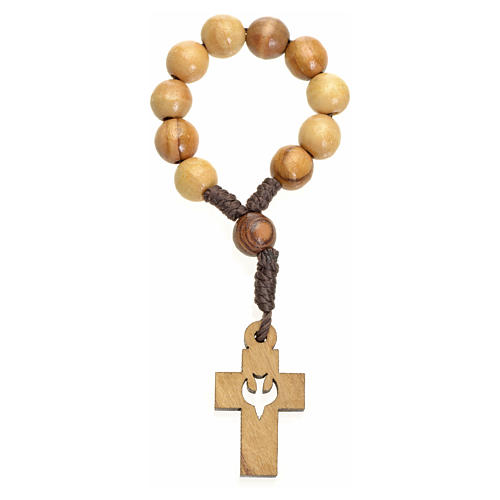 Single decade rosary in Holy Land olive wood, cross and dove 2