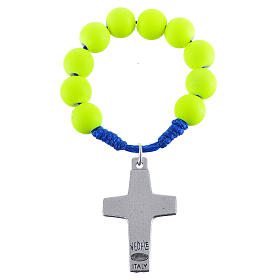 Single decade rosary beads in yellow fimo, Pope Francis s2
