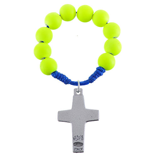 Single decade rosary beads in yellow fimo, Pope Francis 2