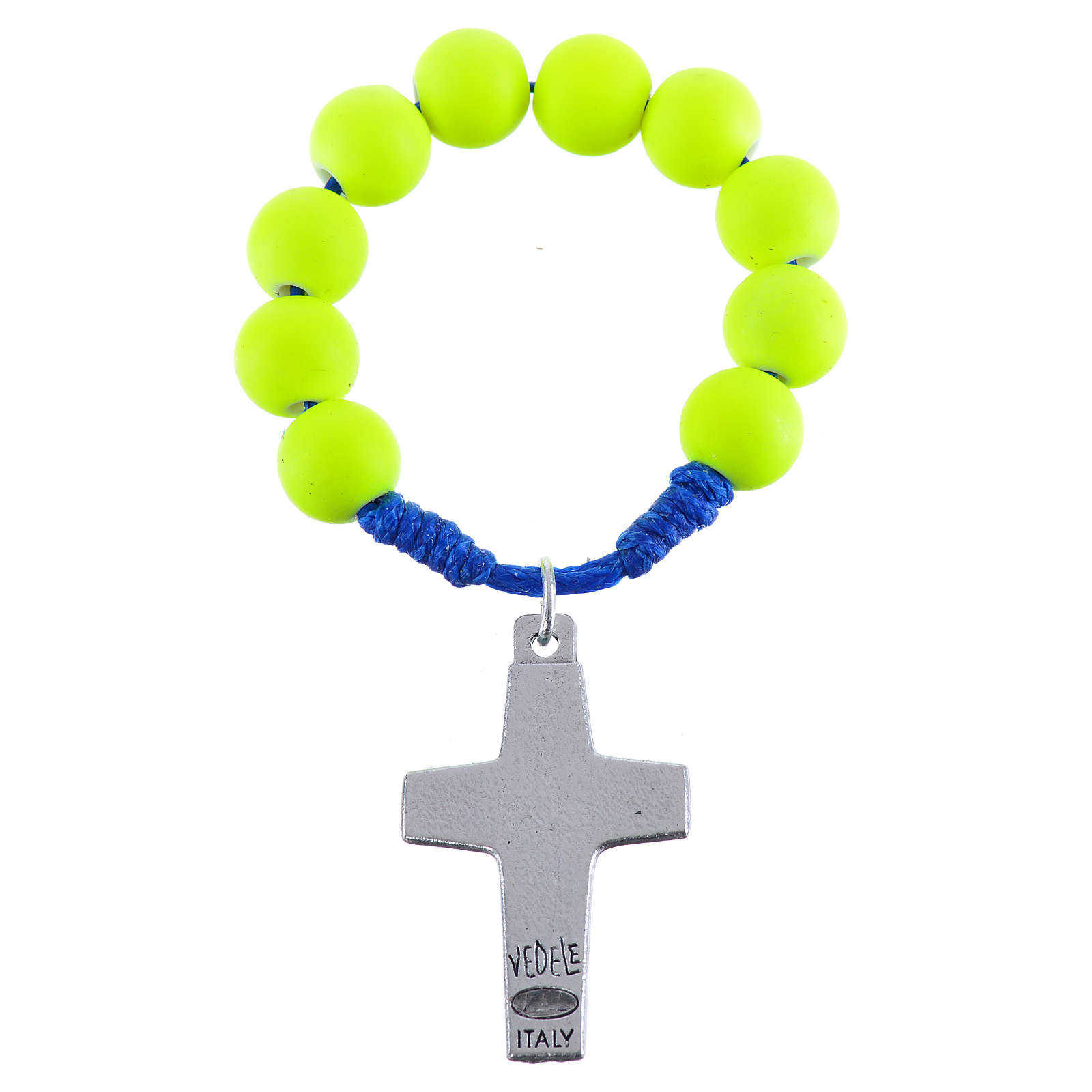 Decina rosario fimo giallo Papa Francesco 4