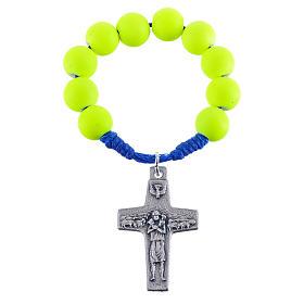Decina rosario fimo giallo Papa Francesco s3