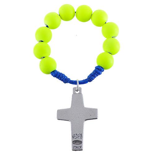Decina rosario fimo giallo Papa Francesco 2