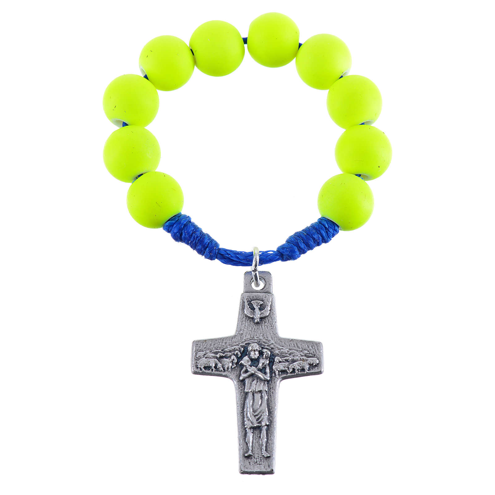 Single decade rosary beads in yellow fimo, Pope Francis 4