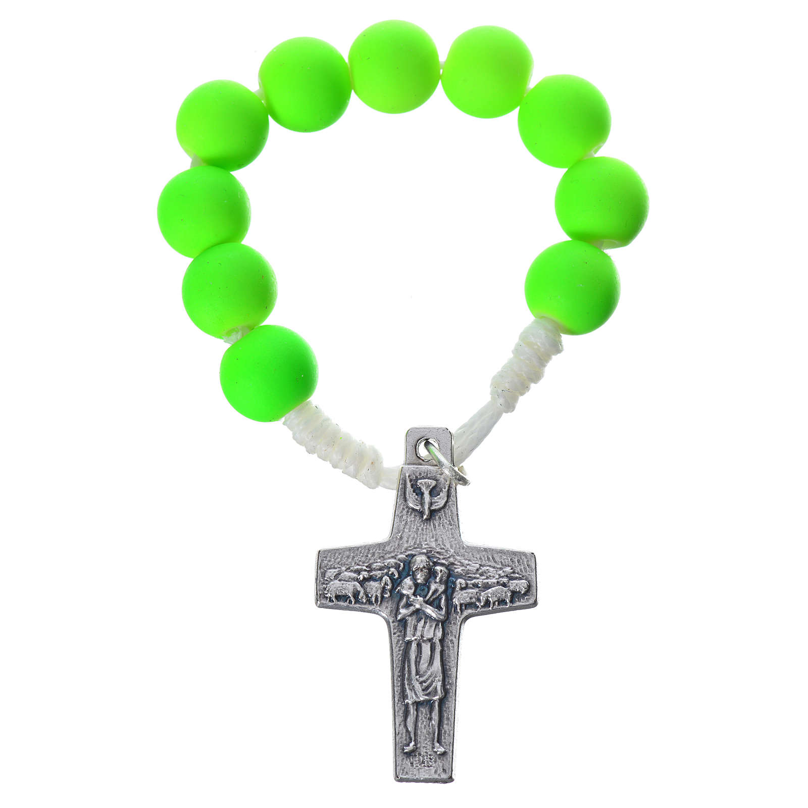 Single decade rosary beads in green fimo, Pope Francis 4