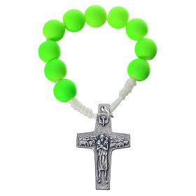 Single decade rosary beads in green fimo, Pope Francis s1