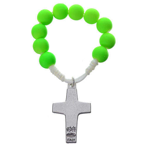 Single decade rosary beads in green fimo, Pope Francis 2