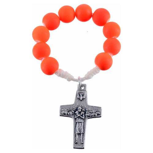 Single decade rosary beads in orange fimo, Pope Francis 1