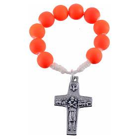 Rosario decena de fimo color naranja Papa Francisco s1
