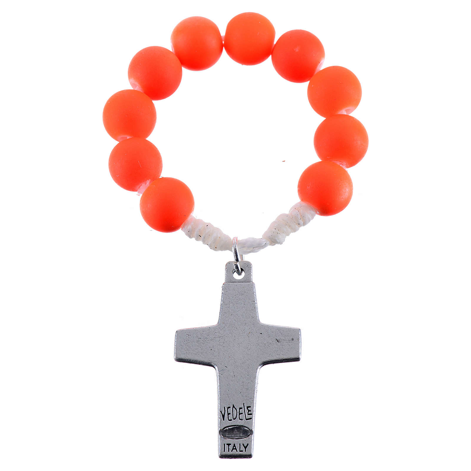 Single decade rosary beads in orange fimo, Pope Francis 4