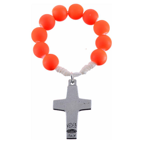 Single decade rosary beads in orange fimo, Pope Francis 2