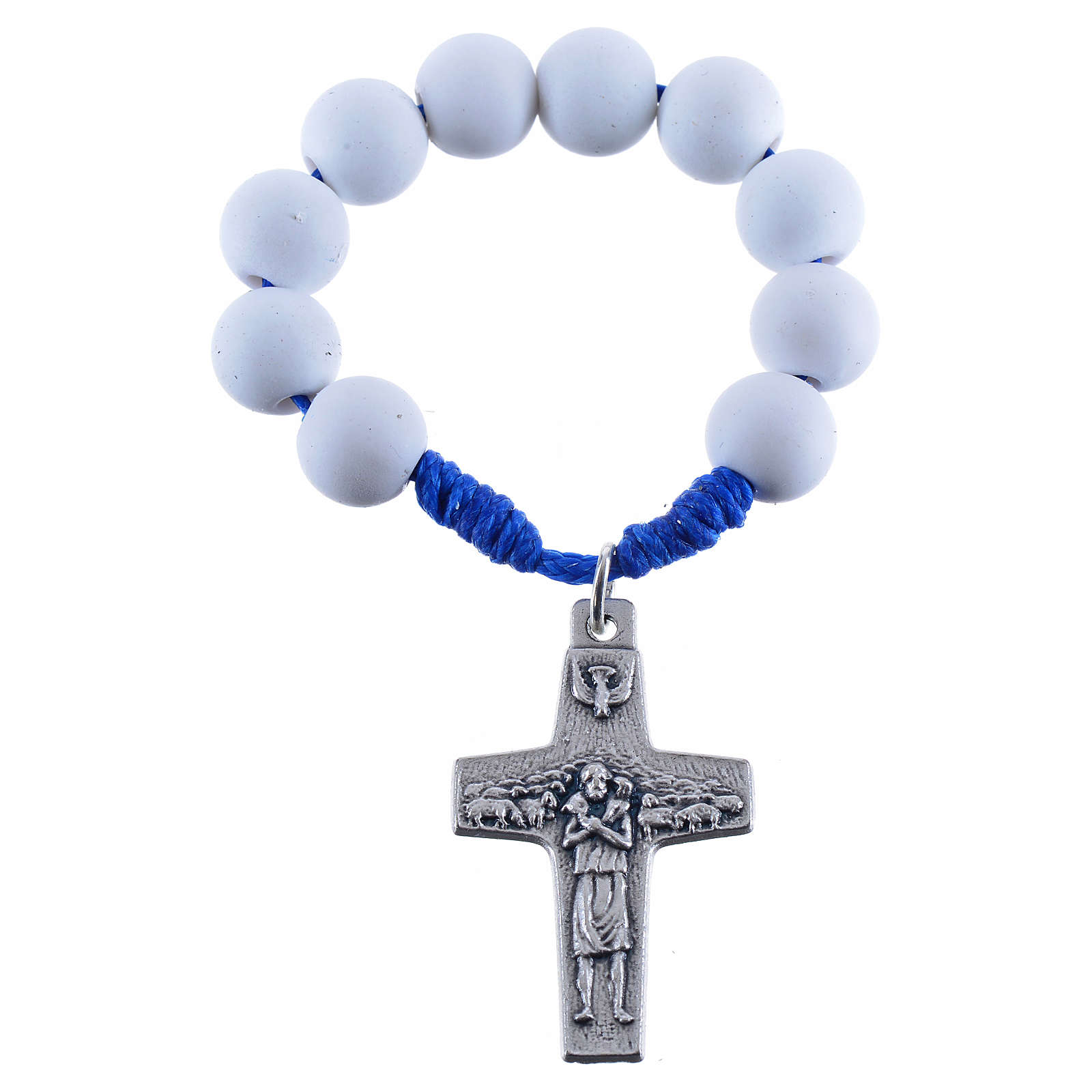 Single decade rosary beads in white fimo, Pope Francis 4