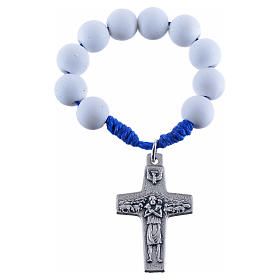 Single decade rosary beads in white fimo, Pope Francis s1