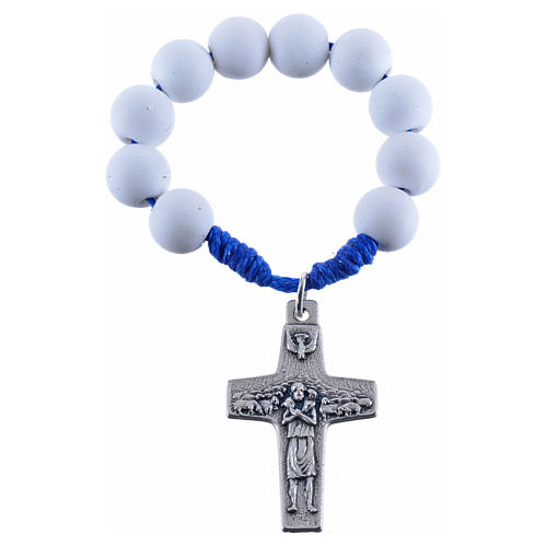 Single decade rosary beads in white fimo, Pope Francis 1