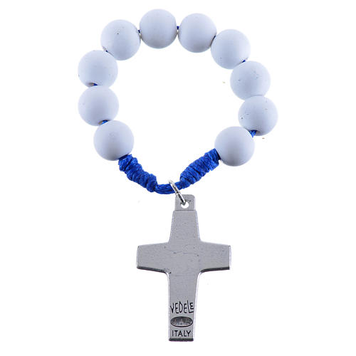 Single decade rosary beads in white fimo, Pope Francis 2