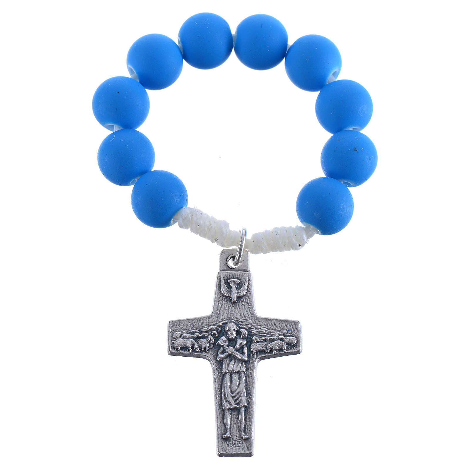 Single decade rosary beads in blue fimo, Pope Francis 4