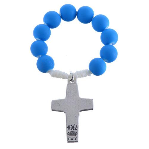 Rosario decina fimo blu Papa Francesco 2