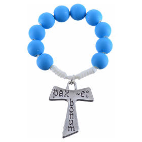 Single decade rosary beads in blue fimo, with Tau s3