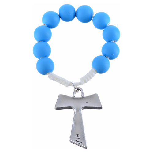 Single decade rosary beads in blue fimo, with Tau 4