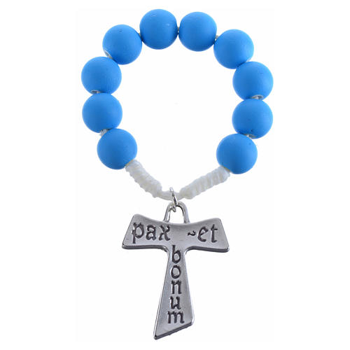 Single decade rosary beads in blue fimo, with Tau 5