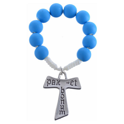 Single decade rosary beads in blue fimo, with Tau 1