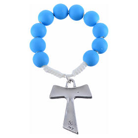 Single decade rosary beads in blue fimo, with Tau s4