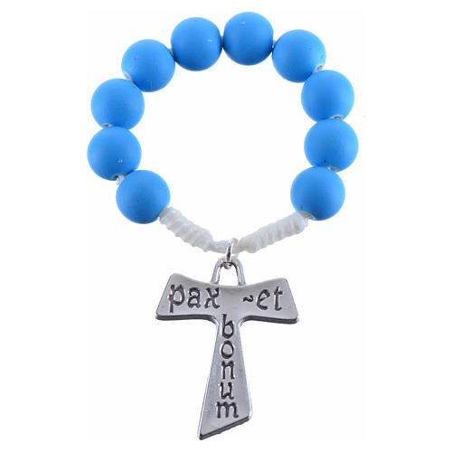 Single decade rosary beads in blue fimo, with Tau 3