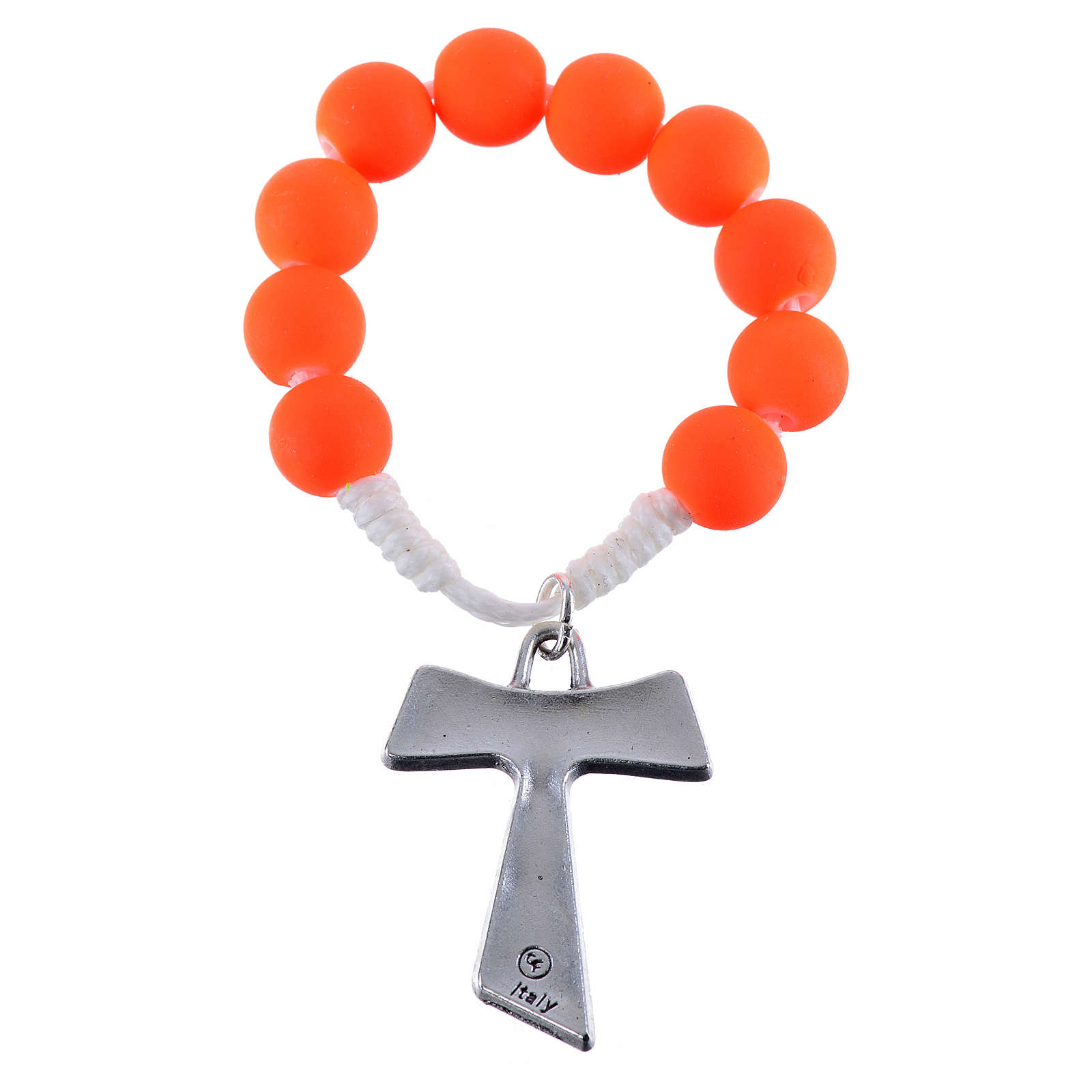Single decade rosary beads in orange fimo, with Tau 4