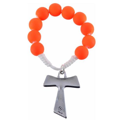 Single decade rosary beads in orange fimo, with Tau 2