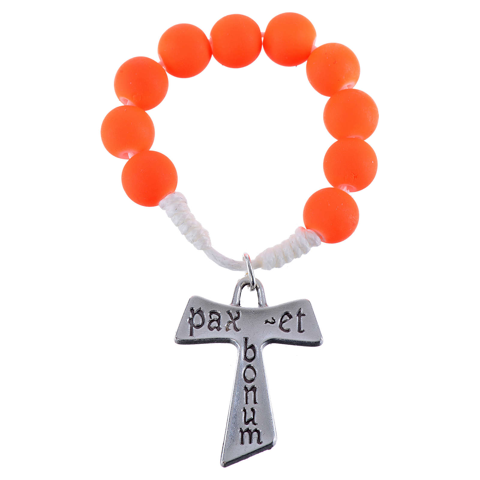 Single decade rosary beads in orange fimo, with Tau 4