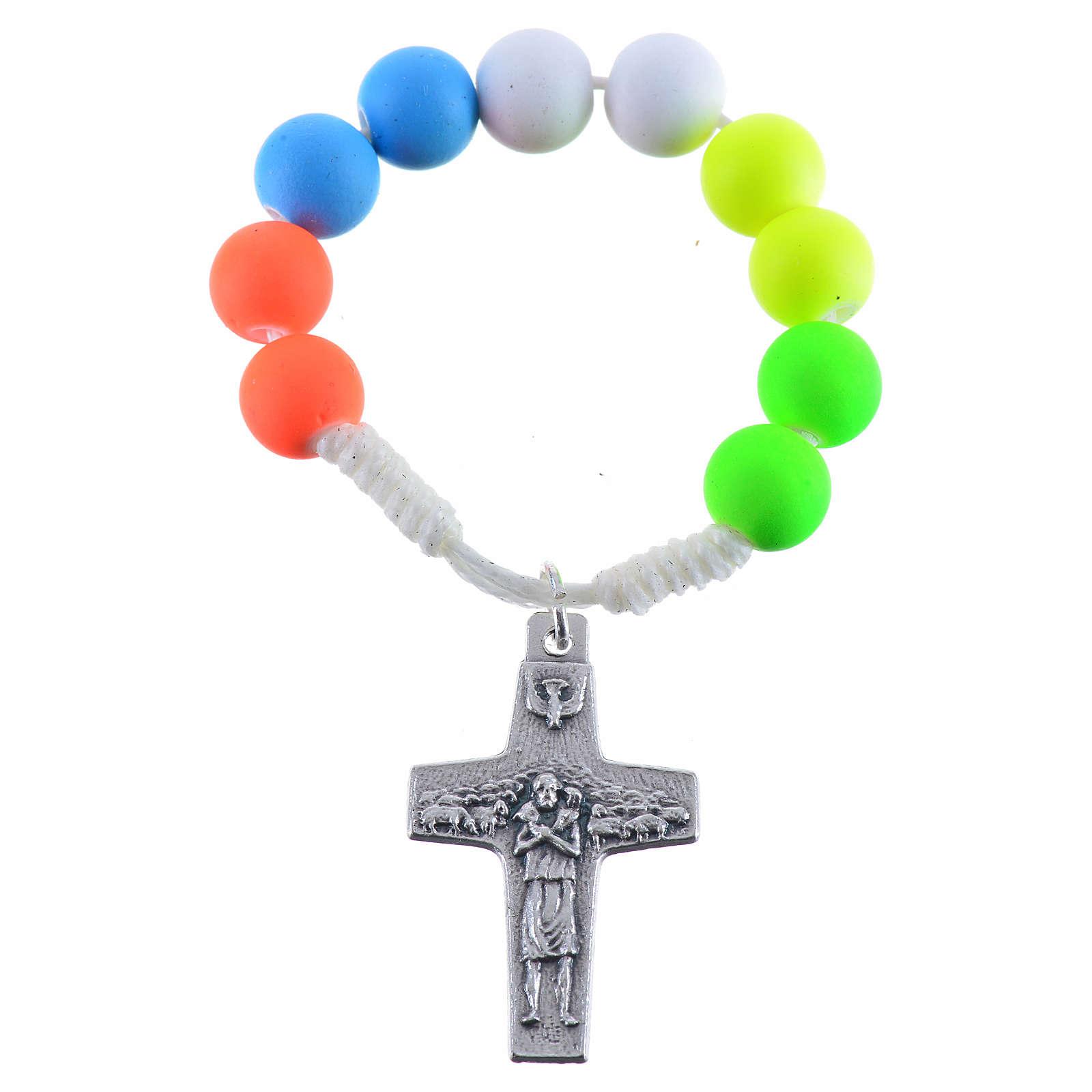 Dizainier chapelet fimo multicolore Pape François 4