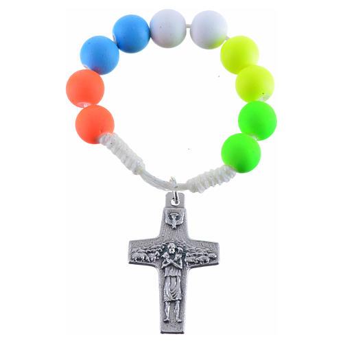 Dizainier chapelet fimo multicolore Pape François 1