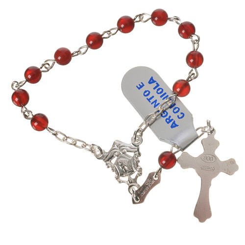 Single-decade rosary in 925 silver and carnelian 2