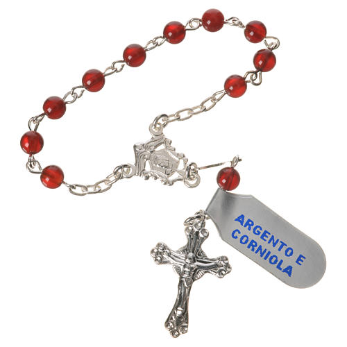 Single-decade rosary in 925 silver and carnelian 1