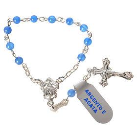 Chapelet dizainier argent 925 agate bleu s1