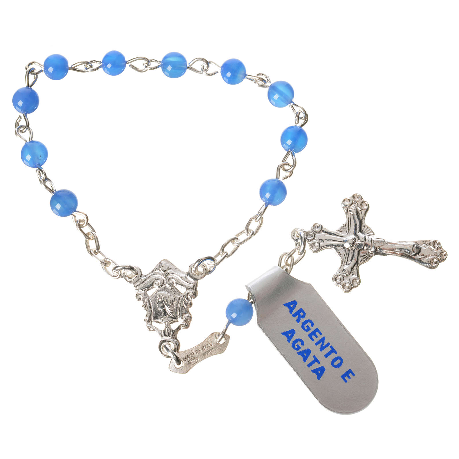 Single-decade rosary in 800 silver and agate, blue 4