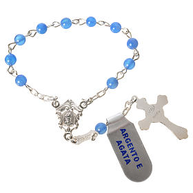 Single-decade rosary in 800 silver and agate, blue s2