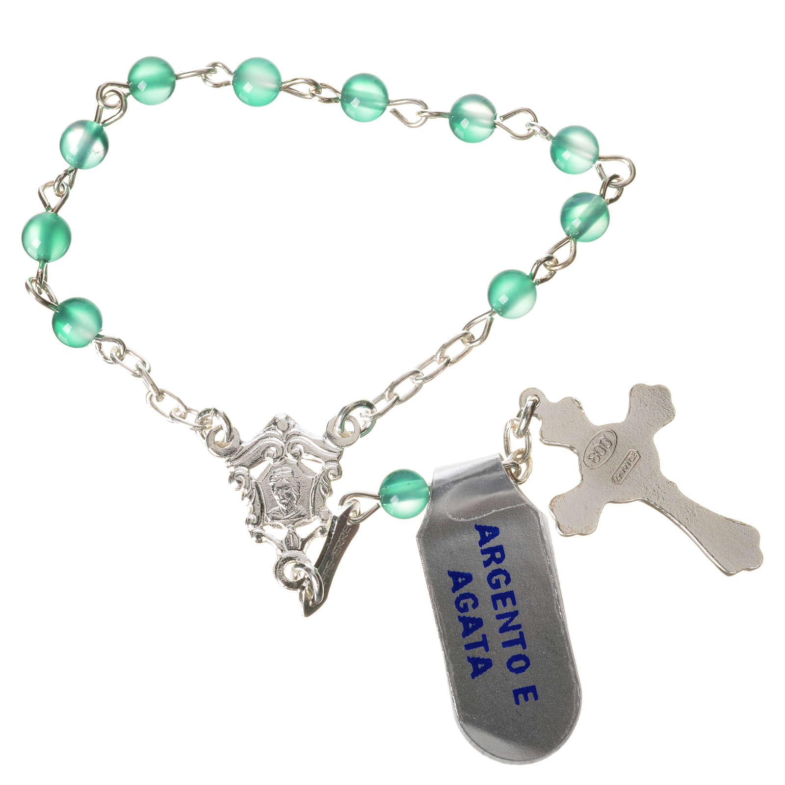 Single-decade rosary in 800 silver and agate, green 4