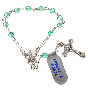 Single-decade rosary in 800 silver and agate, green s1
