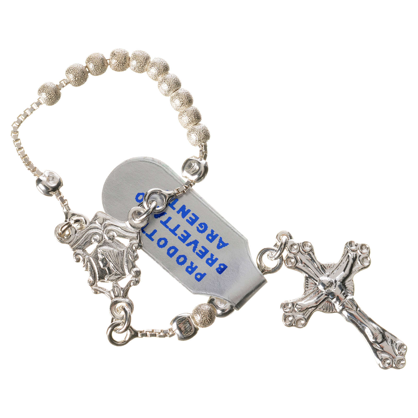 Single-decade rosary with moving grains, 925 silver 3mm 4