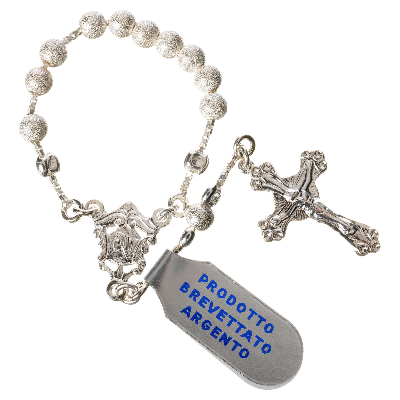 Single-decade rosary with moving grains, 925 silver 4mm 4