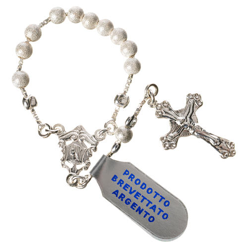 Single-decade rosary with moving grains, 925 silver 4mm 3