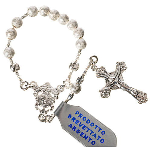 Single-decade rosary with moving grains, 925 silver 4mm 1