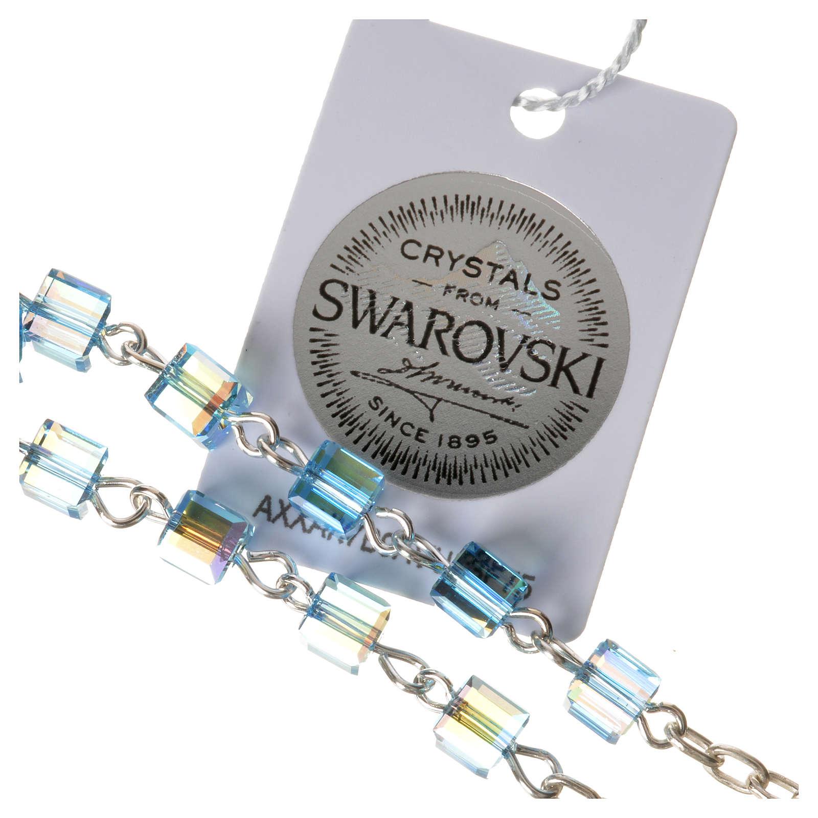 Single-decade rosary 925 silver, Swarovski square grains, light 4