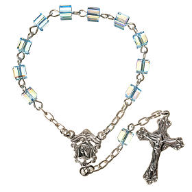 Single-decade rosary 925 silver, Swarovski square grains, light s1