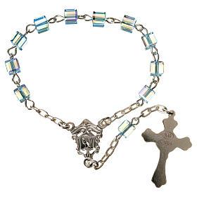 Single-decade rosary 925 silver, Swarovski square grains, light s2