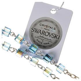 Single-decade rosary 925 silver, Swarovski square grains, light s3