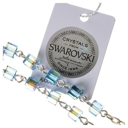 Single-decade rosary 925 silver, Swarovski square grains, light 3