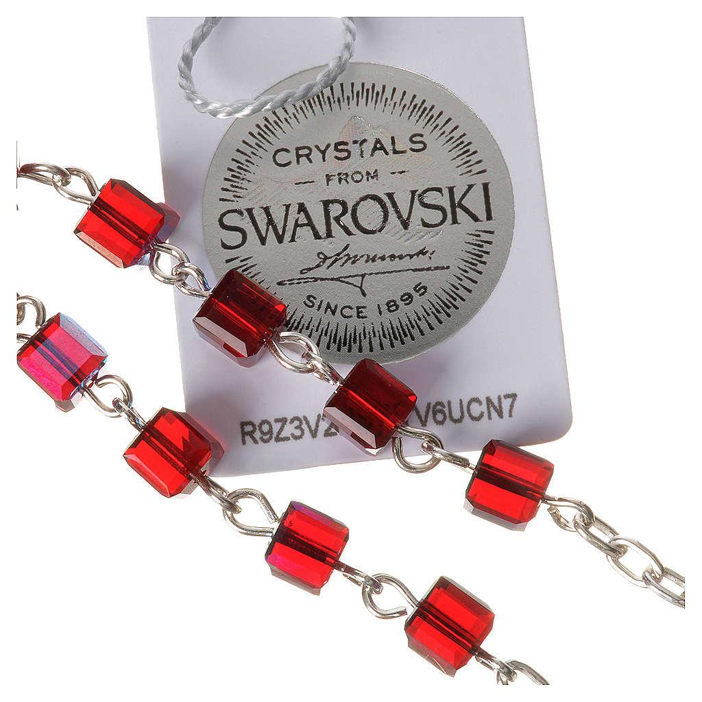 Single-decade rosary 800 silver, Swarovski square grains, red 4